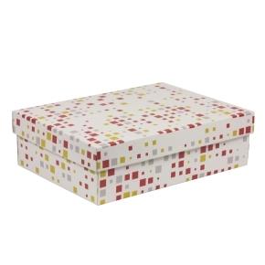 Darčeková krabica s vekom 350x250x100/40 mm, VZOR - KOCKY koralová/žltá