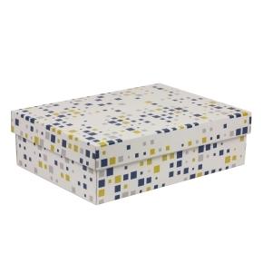 Darčeková krabica s vekom 350x250x100/40 mm, VZOR - KOCKY modrá/žltá