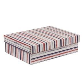Darčeková krabica s vekom 350x250x100/40 mm, VZOR - PRUHY fialová/koralová