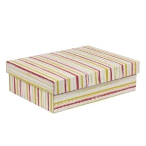 Darčeková krabica s vekom 350x250x100/40 mm, VZOR - PRUHY koralová/žltá