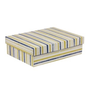 Darčeková krabica s vekom 350x250x100/40 mm, VZOR - PRUHY modrá/žltá