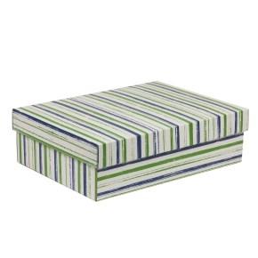 Darčeková krabica s vekom 350x250x100/40 mm, VZOR - PRUHY zelená/modrá