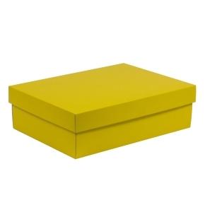 Darčeková krabica s vekom 350x250x100/40 mm, žltá