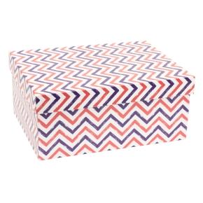 Darčeková krabica s vekom 350x250x150 mm, VZOR - CIK CAK fialová/koralová