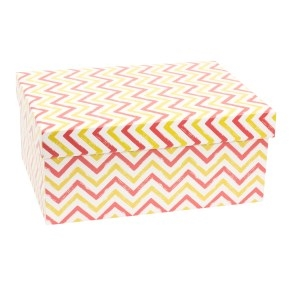 Darčeková krabica s vekom 350x250x150 mm, VZOR - CIK CAK koralová/žltá