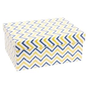 Darčeková krabica s vekom 350x250x150 mm, VZOR - CIK CAK modrá/žltá