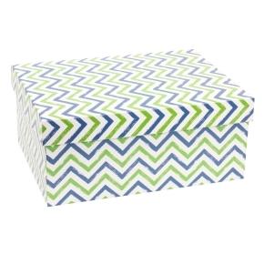 Darčeková krabica s vekom 350x250x150 mm, VZOR - CIK CAK zelená/modrá