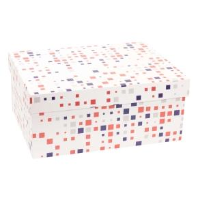 Darčeková krabica s vekom 350x250x150 mm, VZOR - KOCKY fialová/koralová