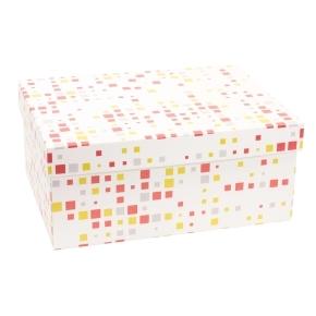 Darčeková krabica s vekom 350x250x150 mm, VZOR - KOCKY koralová/žltá