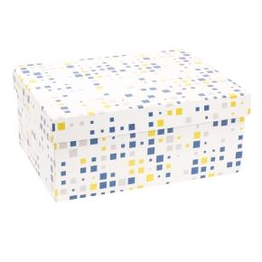 Darčeková krabica s vekom 350x250x150 mm, VZOR - KOCKY modrá/žltá