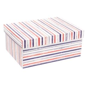 Darčeková krabica s vekom 350x250x150 mm, VZOR - PRUHY fialová/koralová