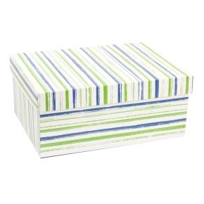 Darčeková krabica s vekom 350x250x150 mm, VZOR - PRUHY zelená/modrá