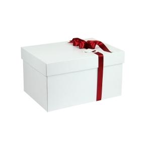 Darčeková krabica s vekom 350x250x200 mm, bielo/biela
