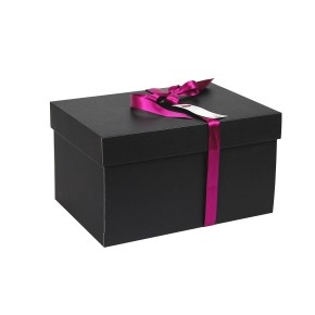 Darčeková krabica s vekom 350x250x200 mm, čierno-sivá