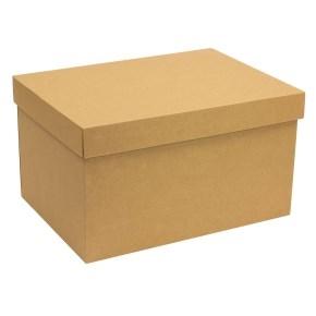 Darčeková krabica s vekom 350x250x200 mm, hnedá - kraft