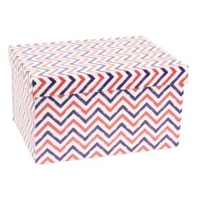 Darčeková krabica s vekom 350x250x200 mm, VZOR - CIK CAK fialová/koralová