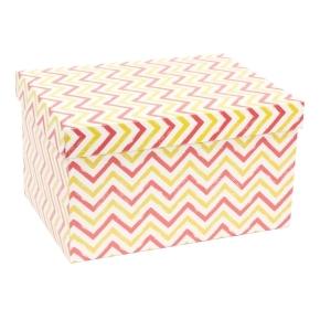 Darčeková krabica s vekom 350x250x200 mm, VZOR - CIK CAK koralová/žltá