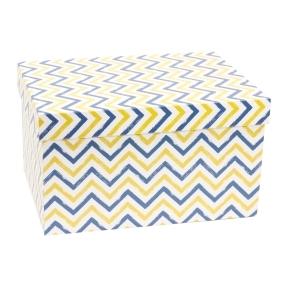 Darčeková krabica s vekom 350x250x200 mm, VZOR - CIK CAK modrá/žltá