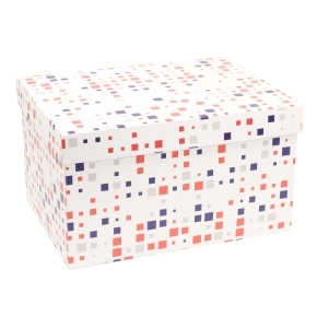 Darčeková krabica s vekom 350x250x200 mm, VZOR - KOCKY fialová/koralová