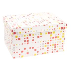 Darčeková krabica s vekom 350x250x200 mm, VZOR - KOCKY koralová/žltá