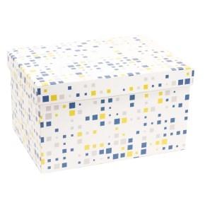 Darčeková krabica s vekom 350x250x200 mm, VZOR - KOCKY modrá/žltá