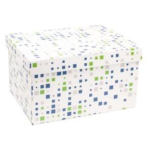 Darčeková krabica s vekom 350x250x200 mm, VZOR - KOCKY zelená/modrá