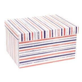 Darčeková krabica s vekom 350x250x200 mm, VZOR - PRUHY fialová/koralová