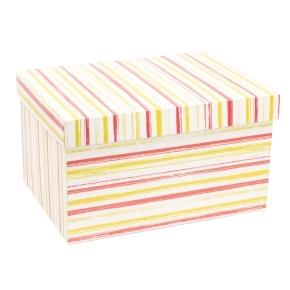 Darčeková krabica s vekom 350x250x200 mm, VZOR - PRUHY koralová/žltá