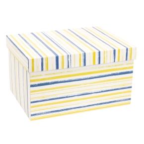 Darčeková krabica s vekom 350x250x200 mm, VZOR - PRUHY modrá/žltá