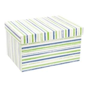Darčeková krabica s vekom 350x250x200 mm, VZOR - PRUHY zelená/modrá