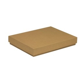 Darčeková krabica s vekom 350x250x50 mm, hnedá - kraft