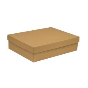 Darčeková krabica s vekom 400x300x100 mm, hnedá - kraft