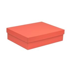 Darčeková krabica s vekom 400x300x100 mm, koralová
