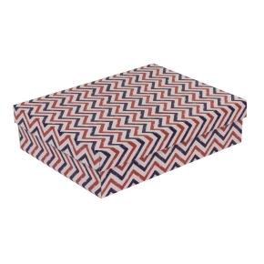 Darčeková krabica s vekom 400x300x100 mm, VZOR - CIK CAK fialová/koralová