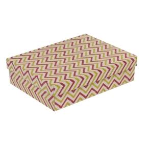 Darčeková krabica s vekom 400x300x100 mm, VZOR - CIK CAK koralová/žltá