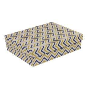 Darčeková krabica s vekom 400x300x100 mm, VZOR - CIK CAK modrá/žltá