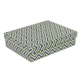 Darčeková krabica s vekom 400x300x100 mm, VZOR - CIK CAK zelená/modrá
