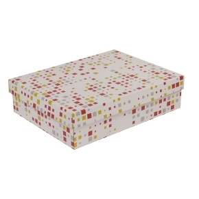 Darčeková krabica s vekom 400x300x100 mm, VZOR - KOCKY koralová/žltá
