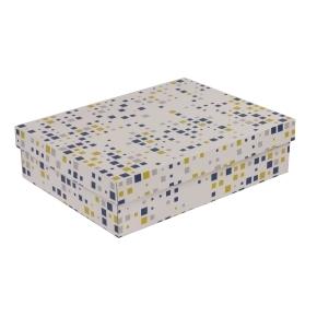 Darčeková krabica s vekom 400x300x100 mm, VZOR - KOCKY modrá/žltá
