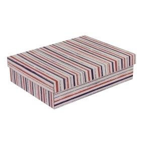 Darčeková krabica s vekom 400x300x100 mm, VZOR - PRUHY fialová/koralová