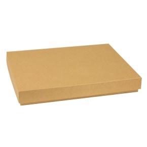 Darčeková krabica s vekom 400x300x50 mm, hnedá - kraft