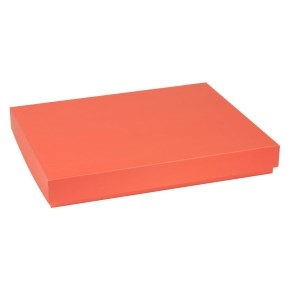 Darčeková krabica s vekom 400x300x50 mm, koralová