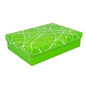 Darčeková krabica s vekom 405x290x100/35 mm, zelená so vzorom na veku