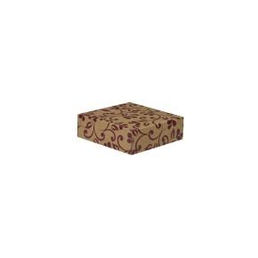 Darčeková krabička 100x100x35/35 mm, hnedá so vzorom na veku, fialové lístky