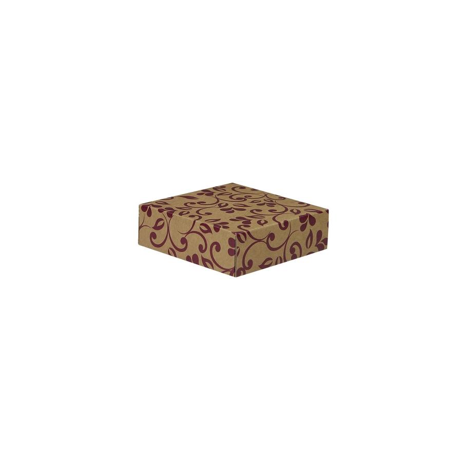 2acc74af8 Darčeková krabička 100x100x35/35 mm, hnedá so vzorom na veku, fialové lístky