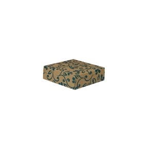 Darčeková krabička 100x100x35/35 mm, hnedá so vzorom na veku, modré lístky