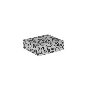 Darčeková krabička 100x100x35/35 mm, sivá so vzorom na veku, čierné lístky