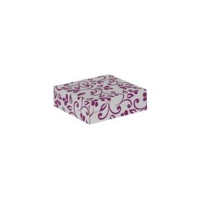 Darčeková krabička 100x100x35/35 mm, sivá so vzorom na veku, fialové lístky