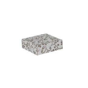 Darčeková krabička 100x100x35/35 mm, sivá so vzorom na veku, hnedé lístky