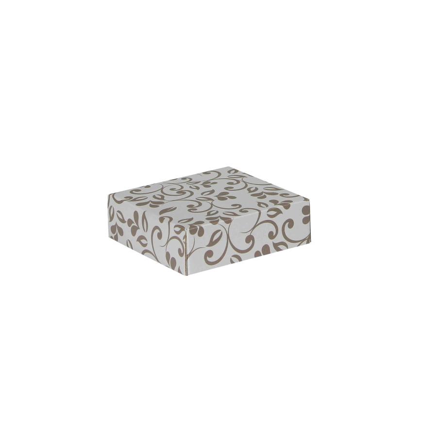 6b9805732 Darčeková krabička 100x100x35/35 mm, sivá so vzorom na veku, hnedé lístky